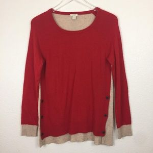 J.Crew Factory Side-Button Elbow Patch Sweater S